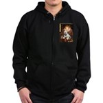 The Queen's English BUlldog Zip Hoodie (dark)