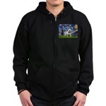 Starry Night English Bulldog Zip Hoodie (dark)