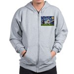 Starry Night English Bulldog Zip Hoodie