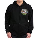 Lilies2/Italian Greyhound Zip Hoodie (dark)