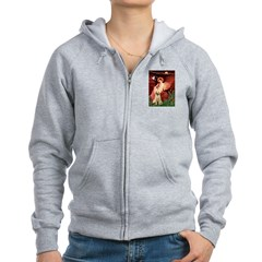 Seated Angel /Italian Spinone Women's Zip Hoodie