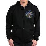 Starry Irish Wolfhound Zip Hoodie (dark)