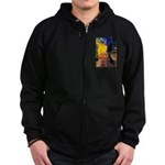 Cafe & Black Lab Zip Hoodie (dark)