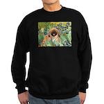 Irises / Pekingese(r&w) Sweatshirt (dark)