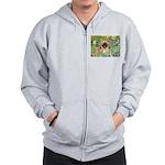 Irises / Pekingese(r&w) Zip Hoodie