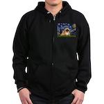 Starry / Pekingese(r&w) Zip Hoodie (dark)