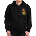 Fairies / Pomeranian (b&t) Zip Hoodie (dark)