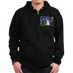 Starry/Pomeranian(r&w) Zip Hoodie (dark)