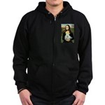 Mona Lisa/Poodle (white/toy) Zip Hoodie (dark)