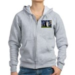 Starry Night / 2 Poodles(b&w) Women's Zip Hoodie