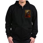 Lincoln-Black Pug Zip Hoodie (dark)