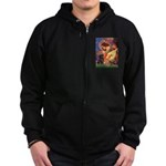 Mandolin Angel / Black Pug Zip Hoodie (dark)