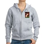 Winged Figure / Black Pug Women's Zip Hoodie