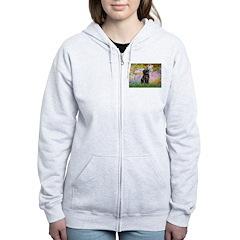 Garden / Black Pug Women's Zip Hoodie
