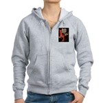 Lady / Black Pug Women's Zip Hoodie