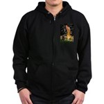 Fairies & Black Pug Zip Hoodie (dark)