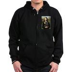 Mona's Black Pug Zip Hoodie (dark)