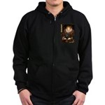 The Queen's Black Pug Zip Hoodie (dark)