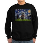 Starry Night / Black Pug Sweatshirt (dark)