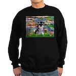 Lilies (#2)/Schnauzer Pup Sweatshirt (dark)