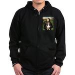 Mona Lisa's Sheltie (S) Zip Hoodie (dark)