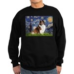 Starry Night / Sheltie (s&w) Sweatshirt (dark)