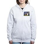 Starry Night / Sheltie (s&w) Women's Zip Hoodie