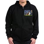 Starry Night / Sheltie (s&w) Zip Hoodie (dark)