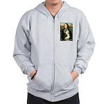 Mona Lisa & Siberian Husky Zip Hoodie