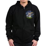 Starry Night Yorkie (T) Zip Hoodie (dark)