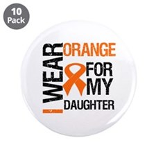 "I Wear Orange For Daughter 3.5"" Button (10 pack)"
