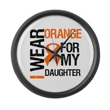 I Wear Orange For Daughter Large Wall Clock