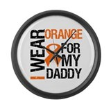 I Wear Orange For My Daddy Large Wall Clock