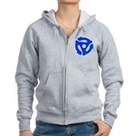 Blue 45 RPM Adapter Women's Zip Hoodie