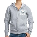 Blue Tribal Butterfly Tattoo Women's Zip Hoodie