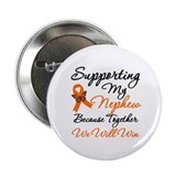 "Orange Ribbon Butterfly 2.25"" Button"
