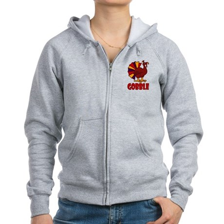 Thanksgiving Turkey Gobble Women's Zip Hoodie