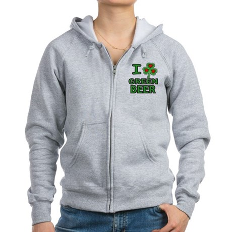 I Shamrock Heart Green Beer Women's Zip Hoodie