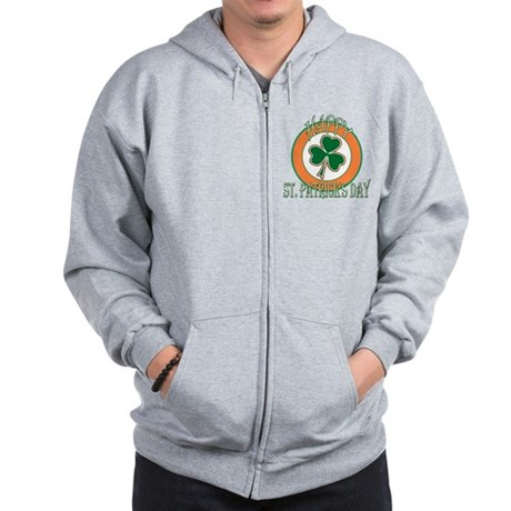 Happy St Patricks Day Shamroc Zip Hoodie
