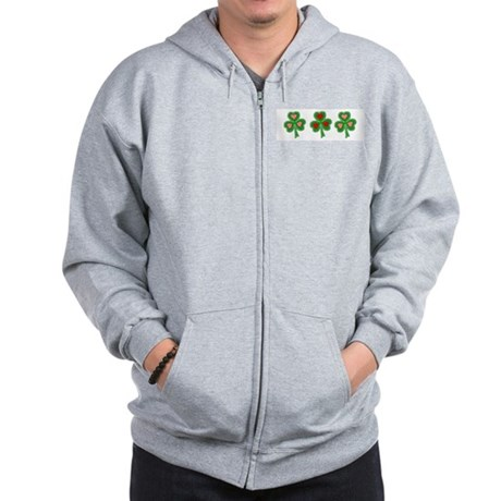 Shamrocks (pink and red heart Zip Hoodie