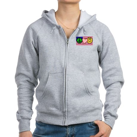 Peace Love Smile Women's Zip Hoodie