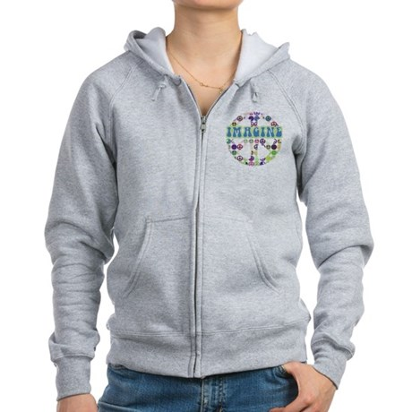 Retro Peace Sign Imagine Women's Zip Hoodie