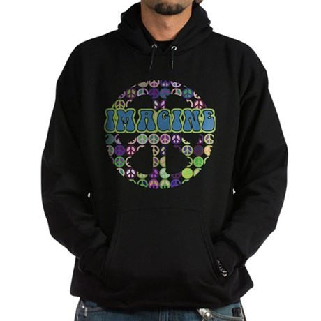 Retro Peace Sign Imagine Hoodie (dark)