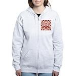 Red Damask Retro Florentine Women's Zip Hoodie