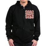 Red Damask Retro Florentine Zip Hoodie (dark)
