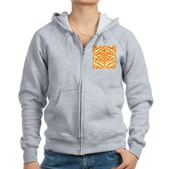 Vintage Orange Damask Retro Women's Zip Hoodie