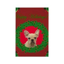 Happy Holidays French Bulldog Rectangle Magnet