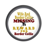 Wife & Border Collie Missing Wall Clock