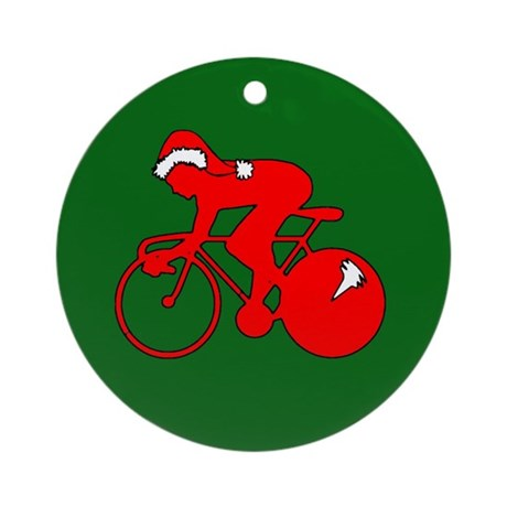Christmas Cyclist Ornament (Round)