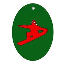 Christmas Snowboarder Oval Ornament